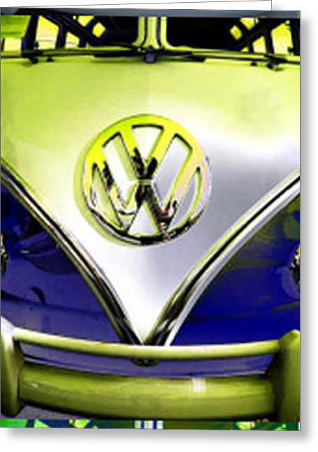 Day Lilly Greeting Cards - VW Variations in Blue Greeting Card by Russ Bertlow
