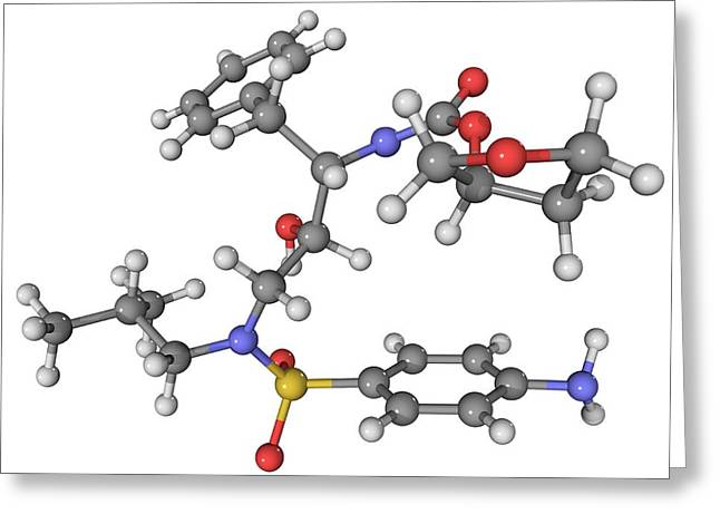Molecular Structure Greeting Cards - Vx478 Aids Drug Molecule Greeting Card by Laguna Design