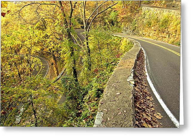 W Road In Autumn Greeting Card by Tom and Pat Cory