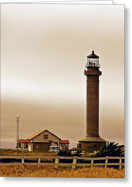Foggy Day Greeting Cards - Wacky Weather at Point Arena Lighthouse - California Greeting Card by Christine Till