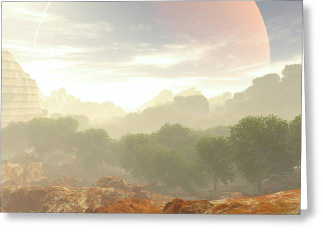 Terragen Greeting Cards - Wadas Red Moon Greeting Card by Napo Bonaparte