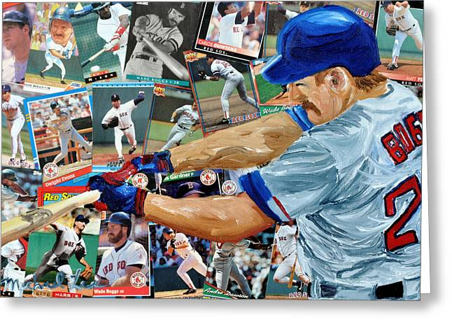 Red Sox Mixed Media Greeting Cards - Wade Boggs Greeting Card by Michael Lee