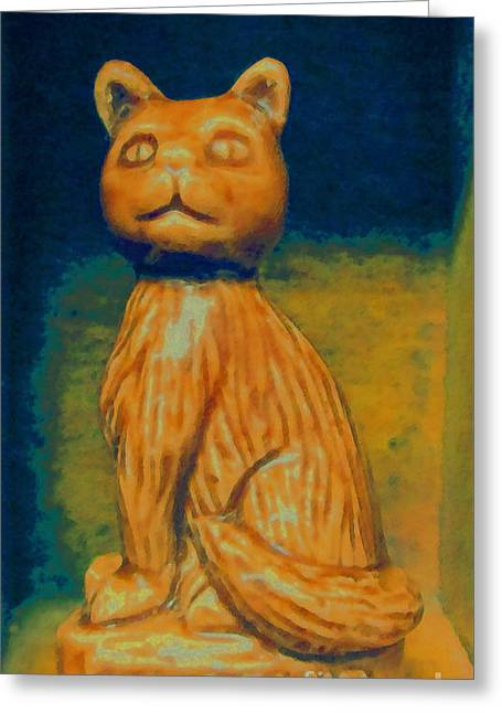 Figurine Mixed Media Greeting Cards - Wade England Cat Greeting Card by Patricia Januszkiewicz