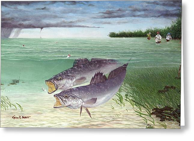 Kevin Brant Greeting Cards - Wade Fishing For Speckled Trout Greeting Card by Kevin Brant