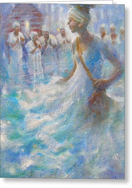 Gullah Art Greeting Cards - Wade in the Water Greeting Card by Gertrude Palmer