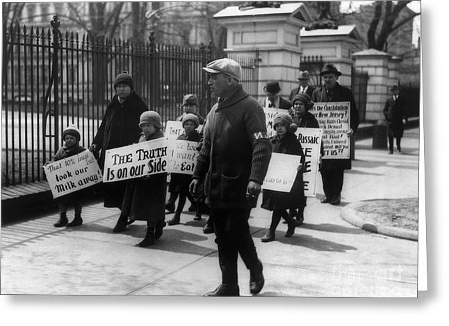 Textile Photographs Greeting Cards - Wage Protest, 1926 Greeting Card by Granger