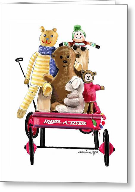 Stuffed Toy Greeting Cards - Wagon Full Of Toys Greeting Card by Arline Wagner
