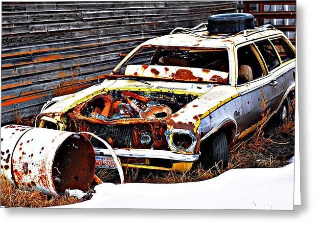 Alberta Posters Greeting Cards - Wagon Of Rust Greeting Card by Jerry Cordeiro