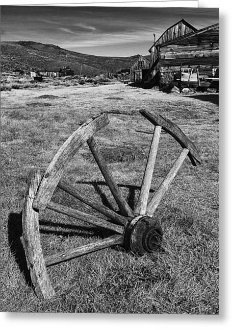 Miners Ghost Greeting Cards - Wagon Wheel Bodie CA Greeting Card by Troy Montemayor
