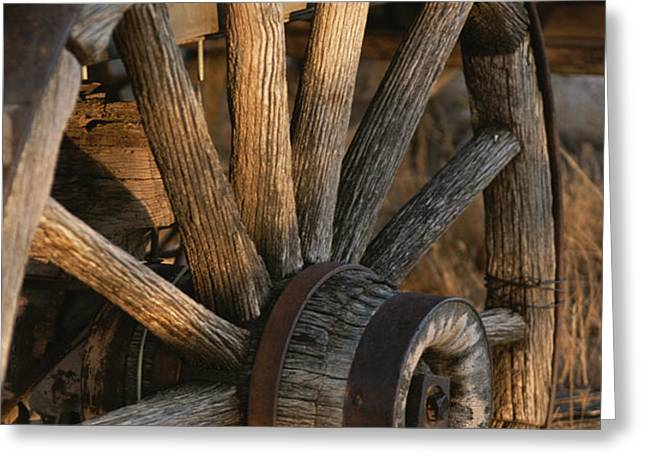 Wagon Wheel On Covered Wagon At Bar 10 Greeting Card by Todd Gipstein
