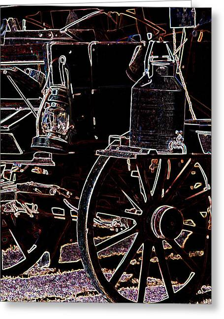 Water Jug Greeting Cards - Wagon Wheels and Lantern Greeting Card by Lori Kimbel