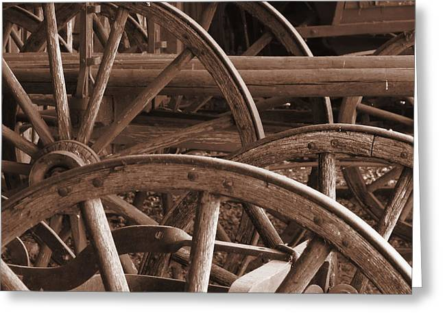 Wood Wheel Greeting Cards - Wagon Wheels Greeting Card by Andrea Arnold