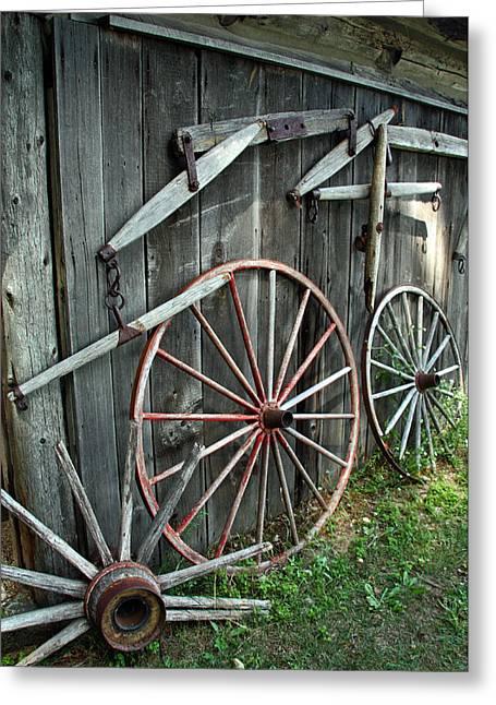 Barn Door Greeting Cards - Wagon Wheels Greeting Card by Joanne Coyle