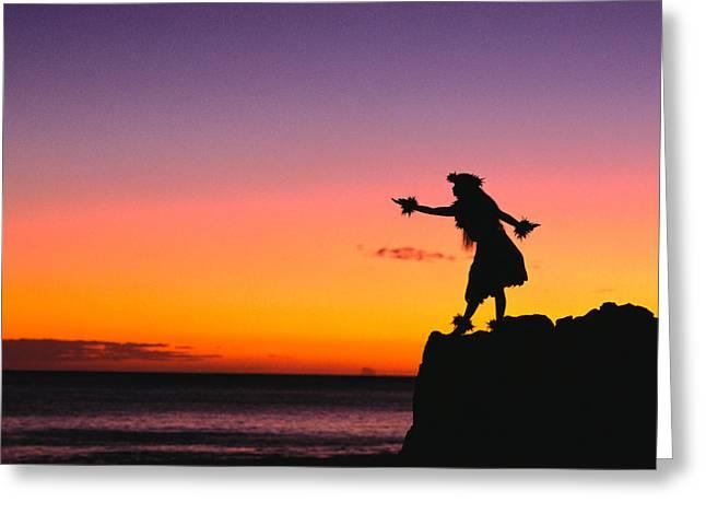 Hula Greeting Cards - Wahine Hula Dancer Greeting Card by William Waterfall - Printscapes