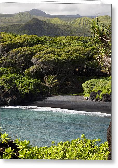 Life Line Greeting Cards - Waianapanapa Beach Greeting Card by Jenna Szerlag