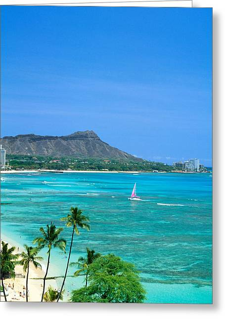 Vince Greeting Cards - Waikiki And Sailboat Greeting Card by Vince Cavataio - Printscapes