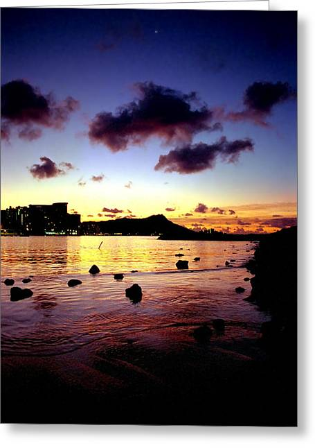Kevin W. Smith Greeting Cards - Waikiki Lagoon Dawn Greeting Card by Kevin Smith