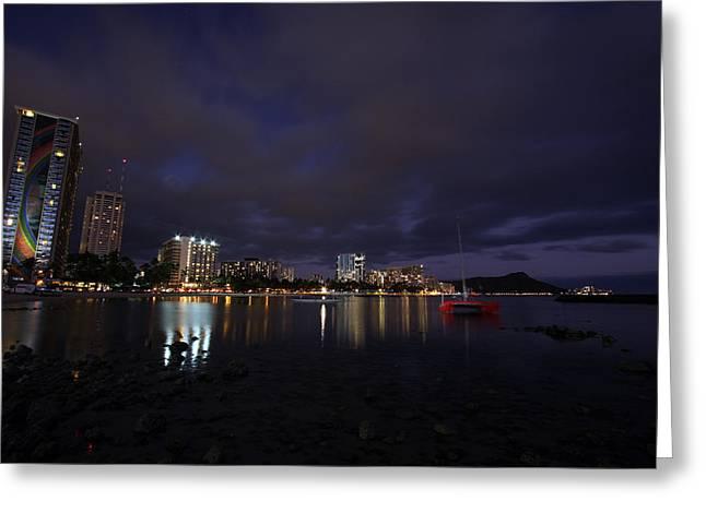 Waikiki Greeting Cards - Waikiki Lights Greeting Card by Ty Helbach