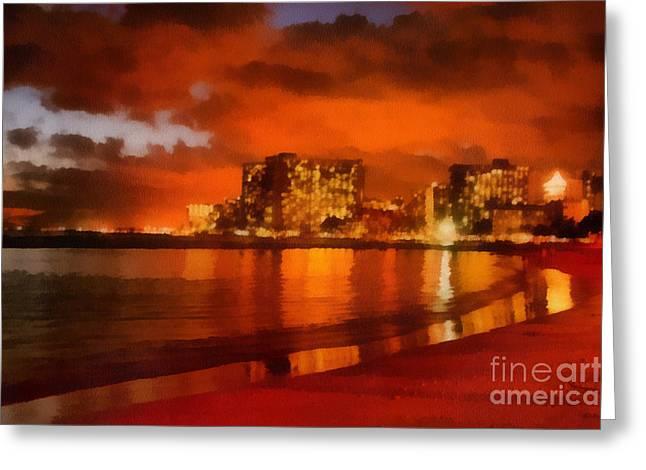 Seacape Greeting Cards - Waikiki Shoreline Greeting Card by Denise Oldridge