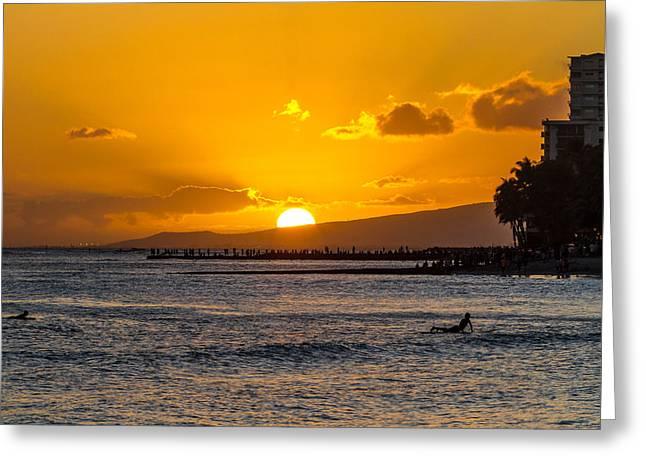 Waikiki Greeting Cards - Waikiki Sunset Greeting Card by Bill Lindsay