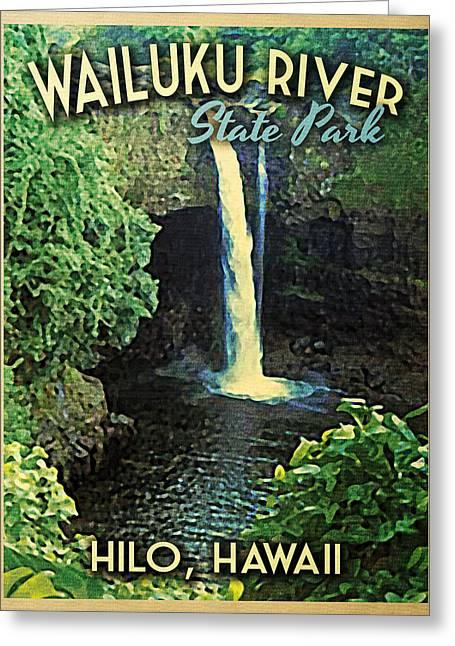 Hilo Greeting Cards - Wailuku State Park Hawaii Greeting Card by Flo Karp