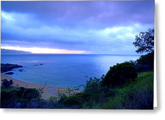 Ocean Panorama Greeting Cards - Waimea Bay Evening Greeting Card by Kevin Smith