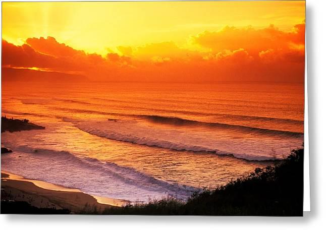 Waimea Bay Sunset Greeting Card by Vince Cavataio - Printscapes