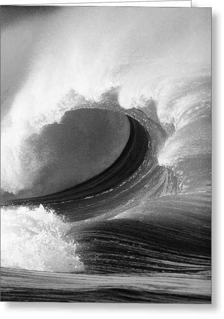 Turbulent Skies Greeting Cards - Waimea Bay Wave - BW Greeting Card by Vince Cavataio - Printscapes
