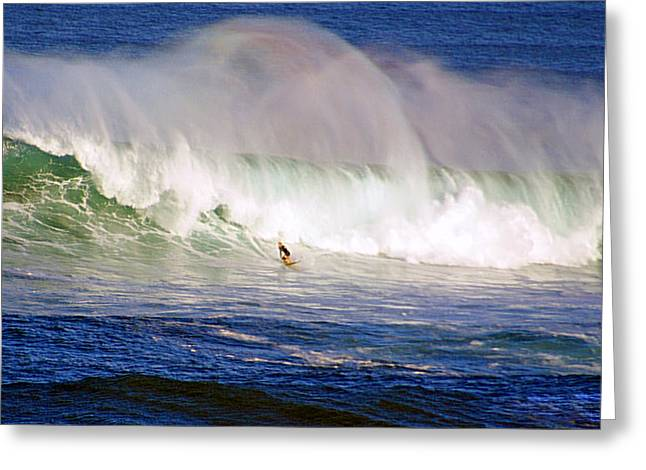 Surfing Contest Greeting Cards - Waimea Bay Wave Greeting Card by Kevin Smith
