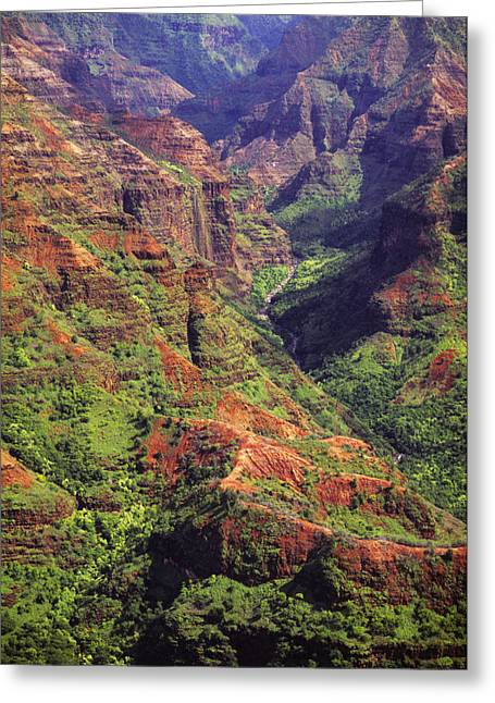 Waimea Valley Greeting Cards - Waimea Canyon Aerial Greeting Card by Carl Shaneff - Printscapes