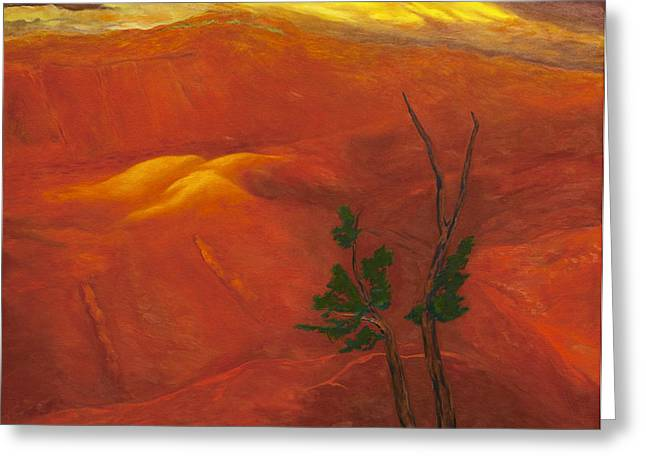 Amazing Sunset Paintings Greeting Cards - Waimea Canyon Greeting Card by Fay Biegun - Printscapes