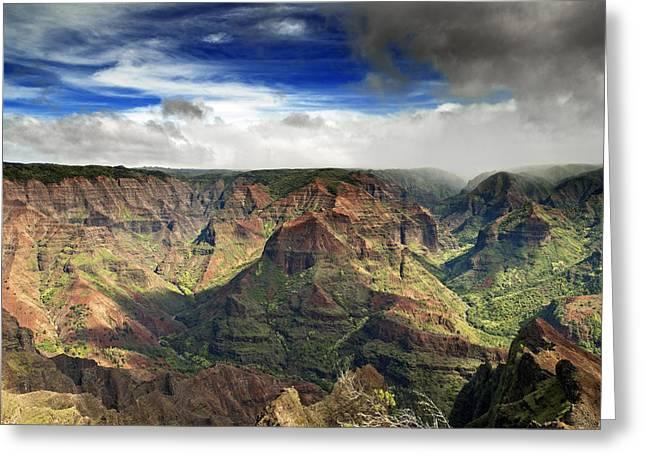 Waimea Greeting Cards - Waimea Canyon Hawaii Kauai Greeting Card by Brendan Reals