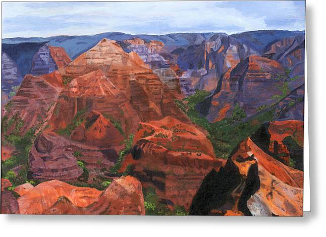 Spectacular Paintings Greeting Cards - Waimea Canyon Greeting Card by Lynne Reichhart