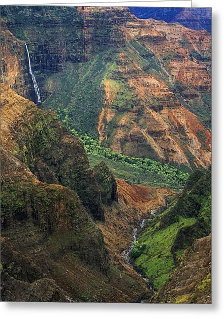 Waimea Falls Greeting Cards - Waipoo Falls - Waimea Canyon Greeting Card by Greg Vaughn - Printscapes