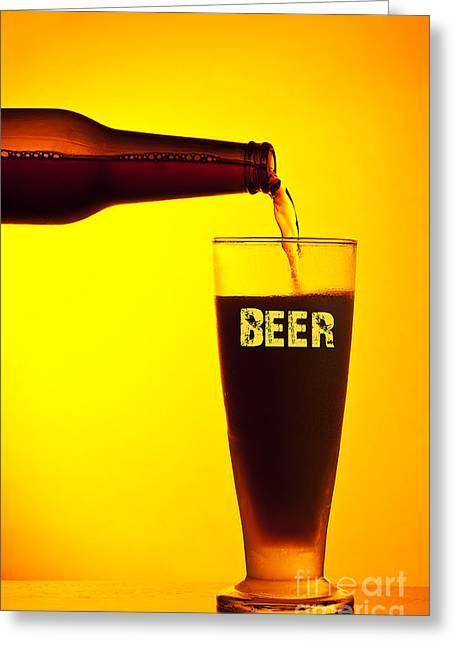Amber Beer Greeting Cards - Waiter pouring dark beer Greeting Card by Anna Omelchenko