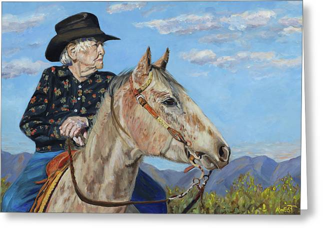 Horse And Rider Greeting Cards - Waitin on the Drive - Georgie and Ches Greeting Card by Anne West