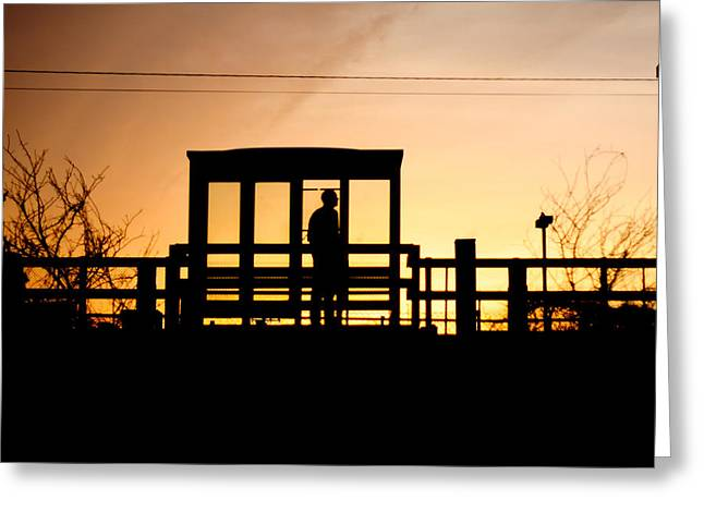 Metra Greeting Cards - Waiting Greeting Card by Anthony Doudt