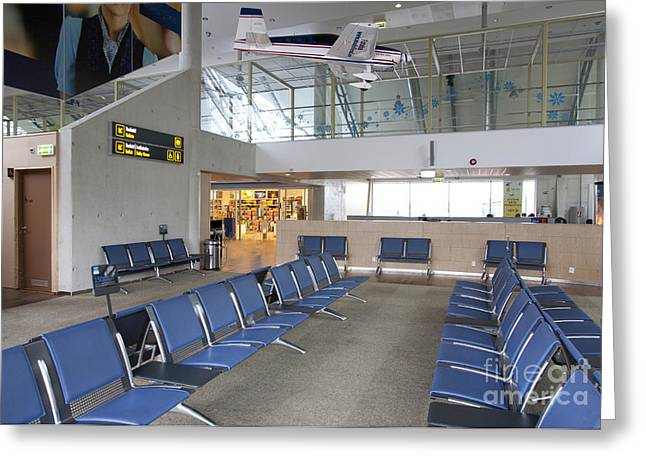 Tallinn Airport Greeting Cards - Waiting Area at an Airport Gate Greeting Card by Jaak Nilson