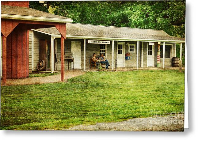 Interior Scene Photographs Greeting Cards - Waiting by the General Store Greeting Card by Paul Ward