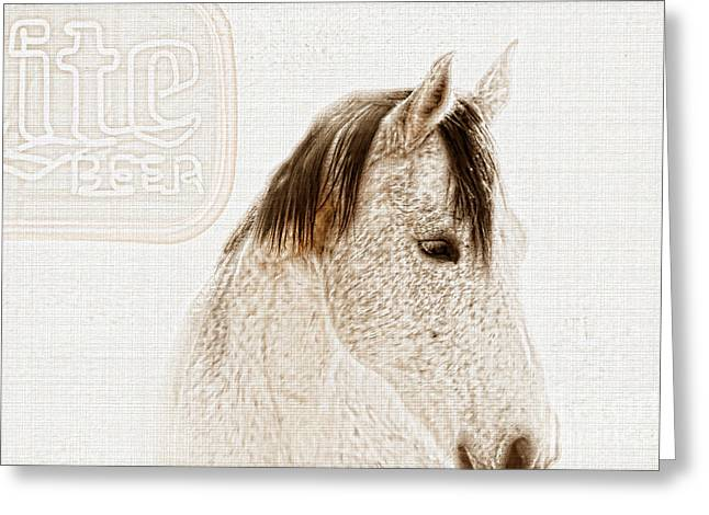 Quarter Horse Digital Art Greeting Cards - Waiting For a Beer Greeting Card by Betty LaRue