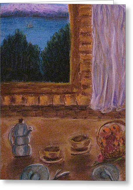 Interior Still Life Pastels Greeting Cards - Waiting For A Friend  Greeting Card by Vida Barq