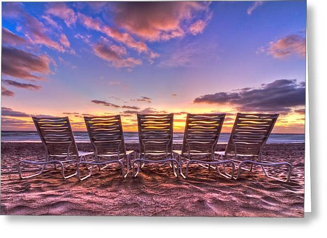 Sunset Posters Greeting Cards - Waiting For Customers Greeting Card by Debra and Dave Vanderlaan