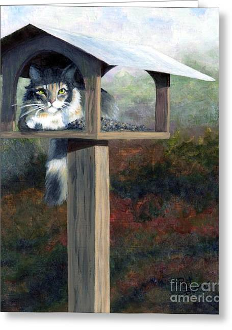 Cat Companions Greeting Cards - Waiting for Dinner Greeting Card by Pat Burns