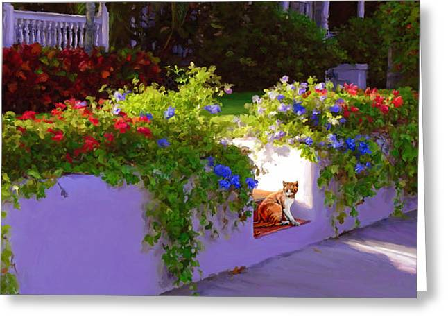 Florida Flowers Mixed Media Greeting Cards - Waiting for Friends Greeting Card by David  Van Hulst
