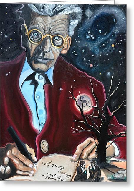 Samuel Greeting Cards - Waiting For Godot- Samuel Beckett Greeting Card by David Fossaceca