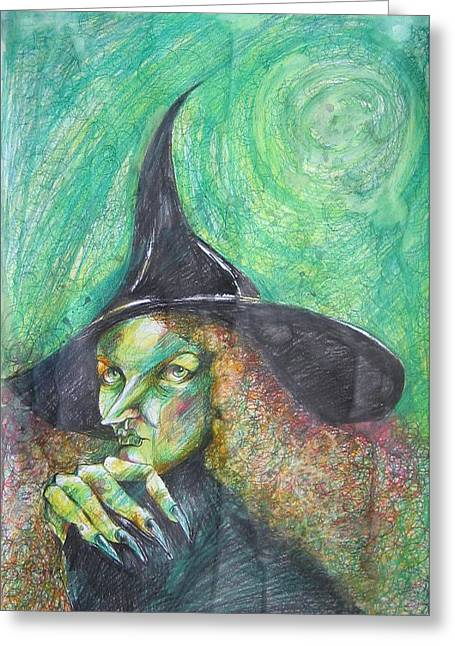 Drawers Drawings Greeting Cards - Waiting For Halloween Greeting Card by Brigitte Hintner