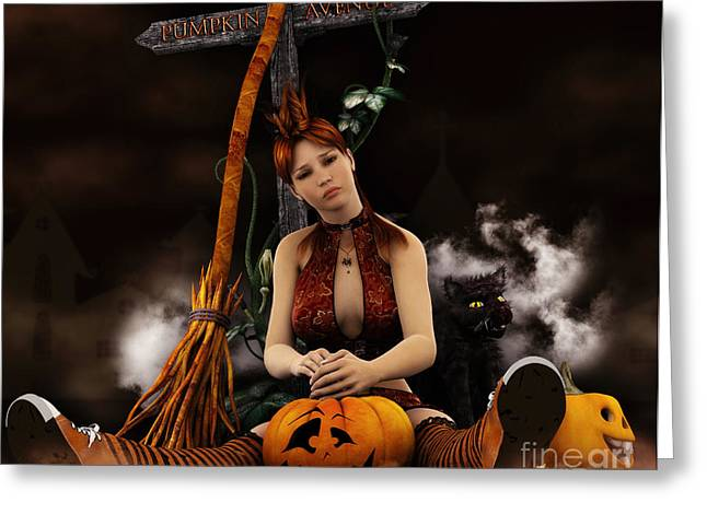 Witch Cat Greeting Cards - Waiting for Halloween Greeting Card by Jutta Maria Pusl