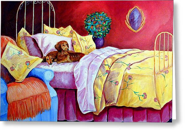 K9 Greeting Cards - Waiting for Mom - Dachshund Greeting Card by Lyn Cook