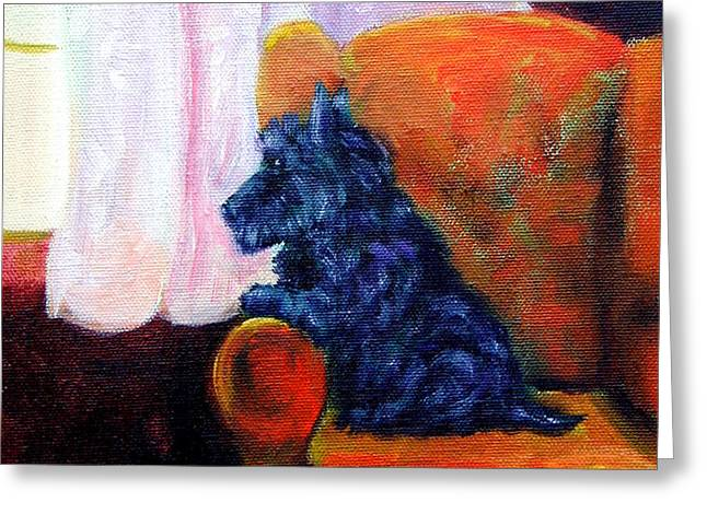 Waiting for Mom - Scottish Terrier Greeting Card by Lyn Cook