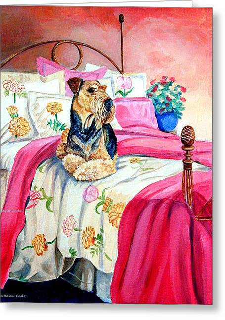 Airedale Terrier Greeting Cards - Waiting for Mom Airedale Terrier Greeting Card by Lyn Cook
